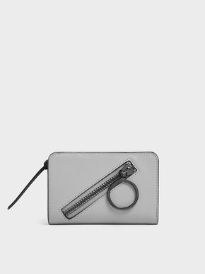 Ring Detail Zip Around Small Wallet, Grey