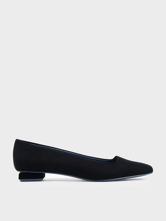 Textured Square Toe Ballerina Flats, Black, hi-res