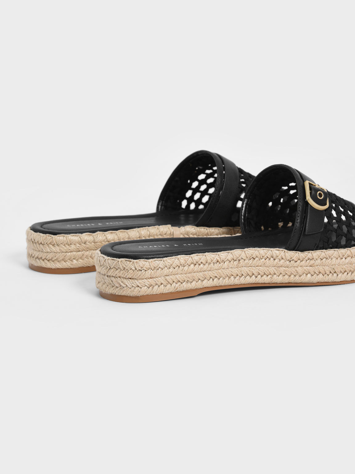 Buckle Strap Espadrille Sandals, Black, hi-res