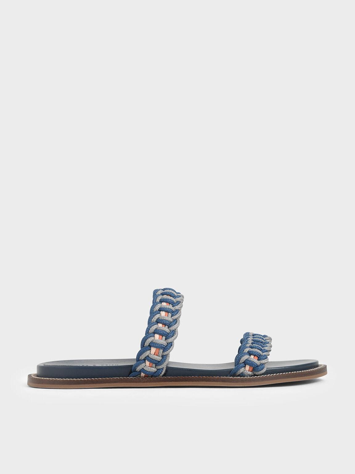 Rope Slide Sandals, Teal, hi-res