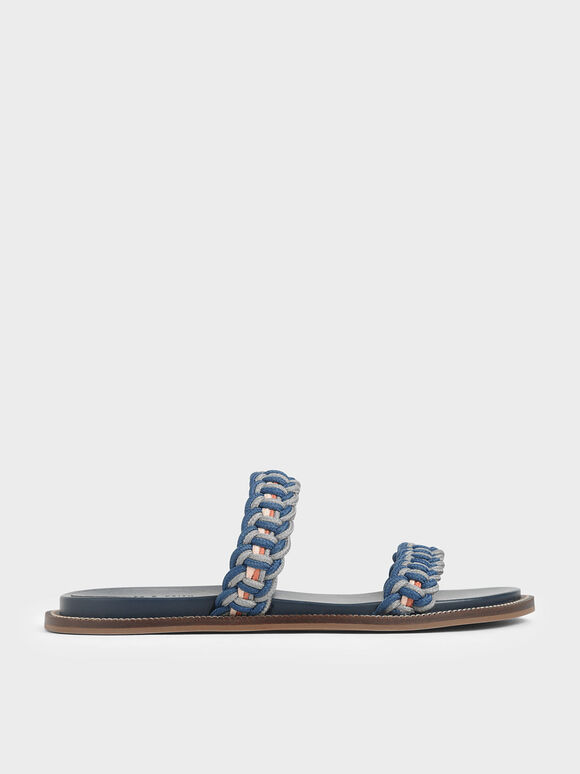 Rope Slide Sandals, Teal, hi-res
