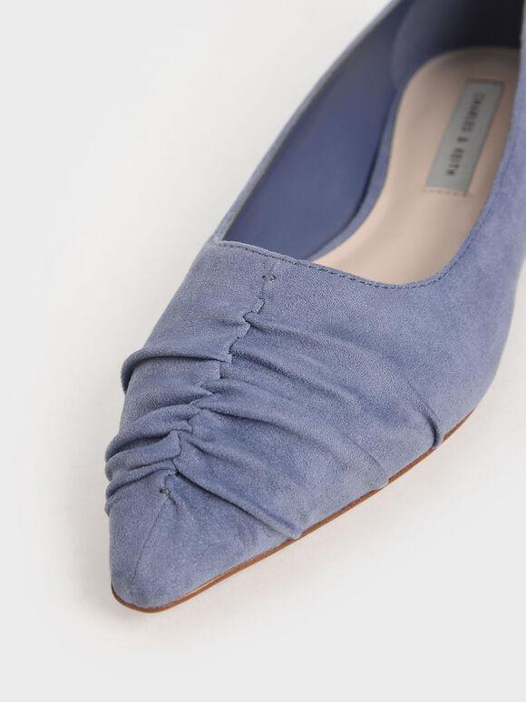 Textured Ruched Ballet Pumps, Blue, hi-res