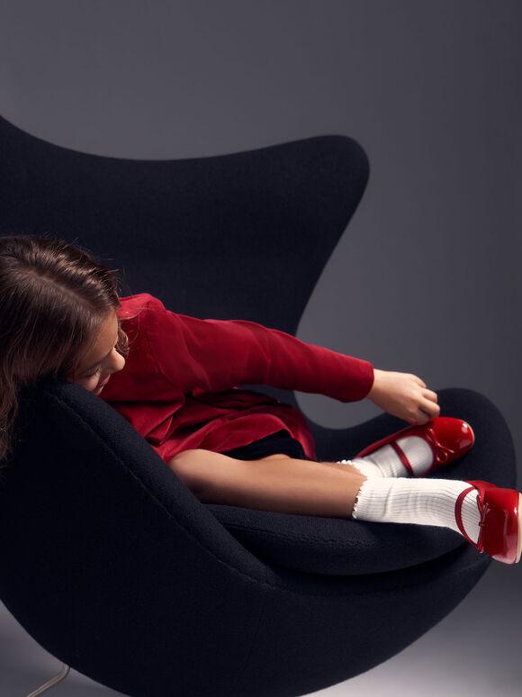 兒童蝴蝶結芭雷舞鞋, 紅色, hi-res