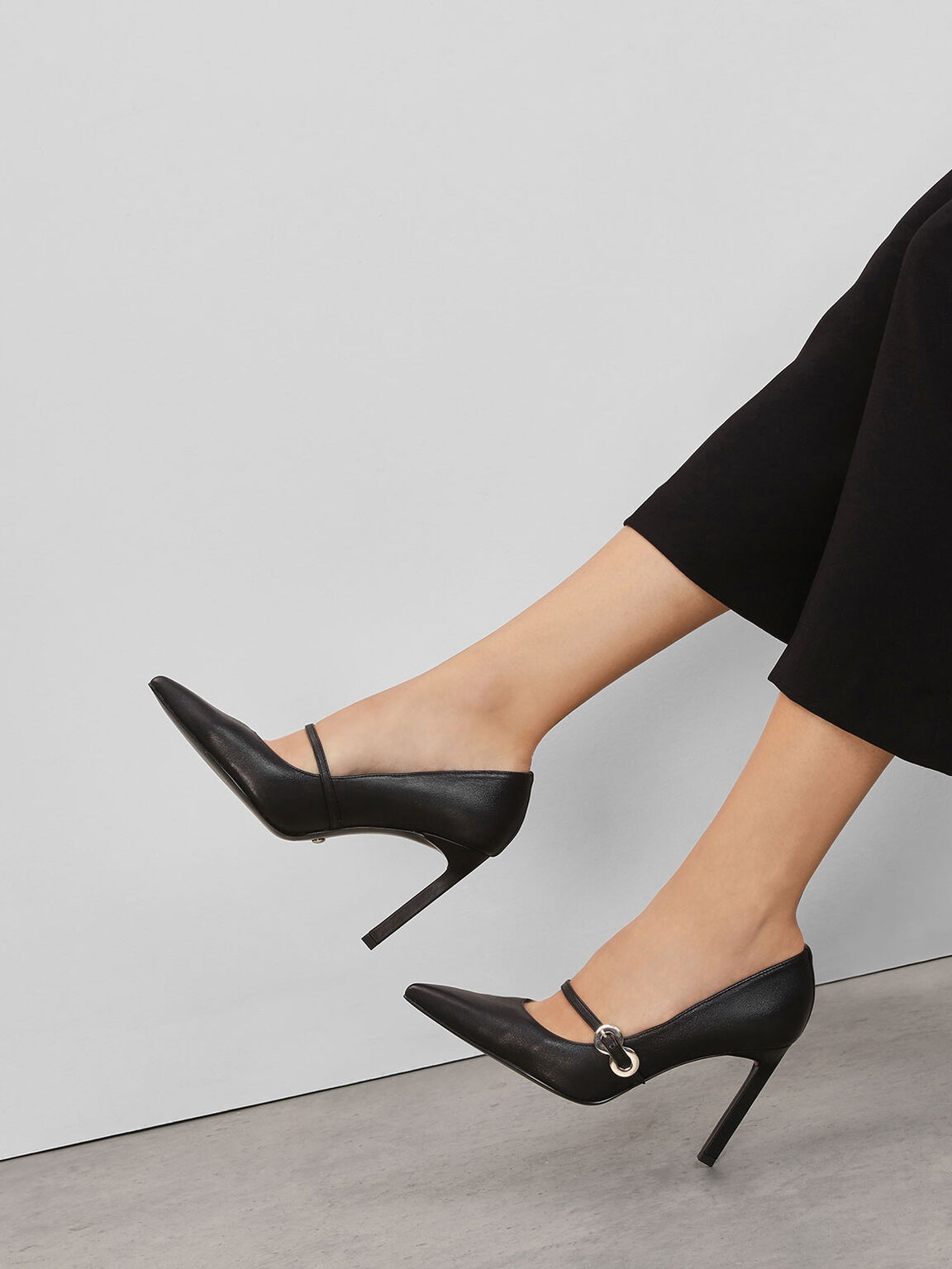 Leather Infinity Buckle Mary Jane Pumps, Black, hi-res