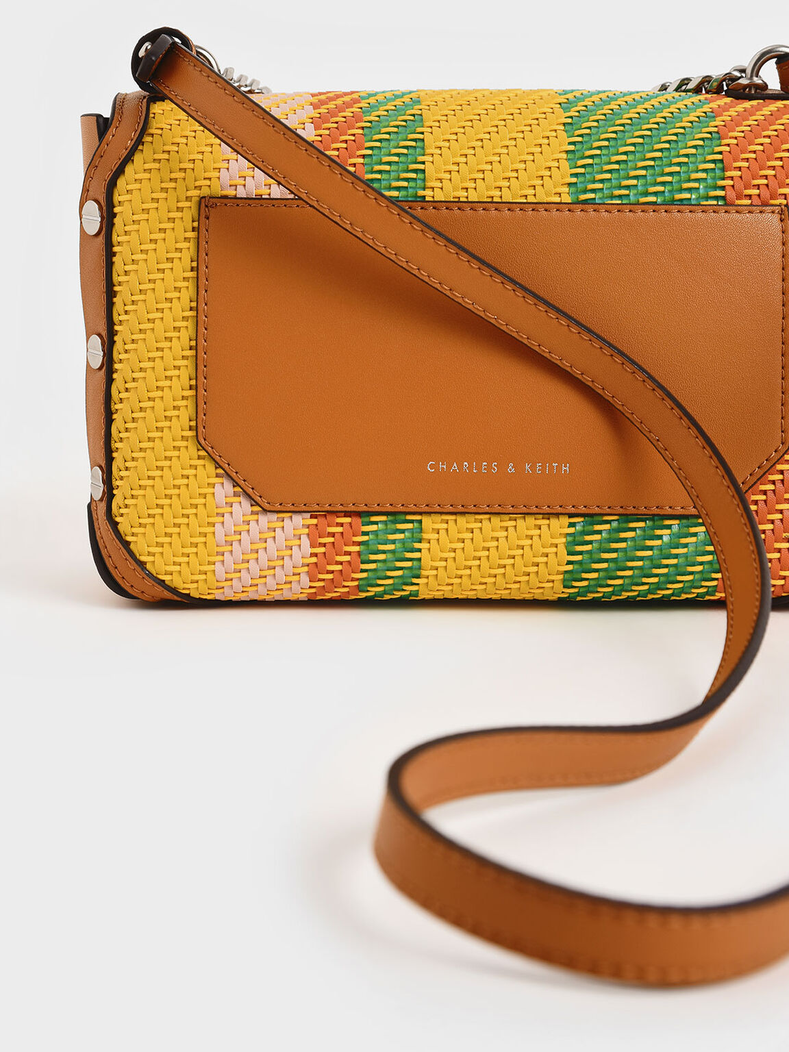 Printed Chain Link Shoulder Bag, Multi, hi-res