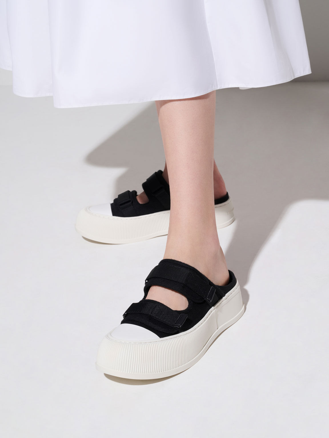 Canvas Velcro Sneaker Mules, Black, hi-res
