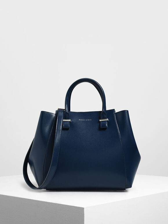 Double Handle Structured Tote, Dark Blue, hi-res