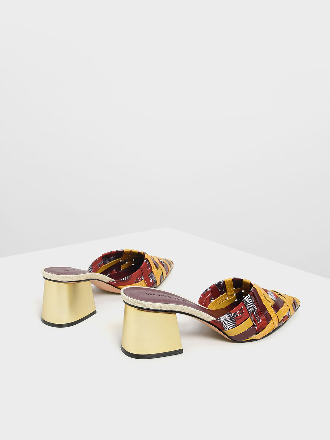 Woven Pointed Mules, Multi, hi-res