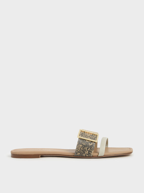 Animal Print Buckle Slide Sandals, Animal Print Natural, hi-res