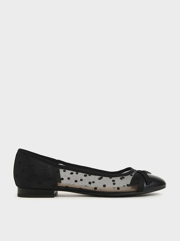 Mesh Bow Tie Ballerina Flats, Black Textured, hi-res