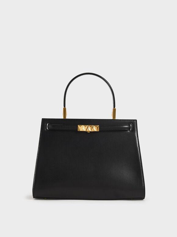 Metallic Push-Lock Trapeze Bag, Black, hi-res