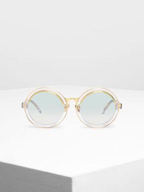 Thick Frame Round Sunglasses, White