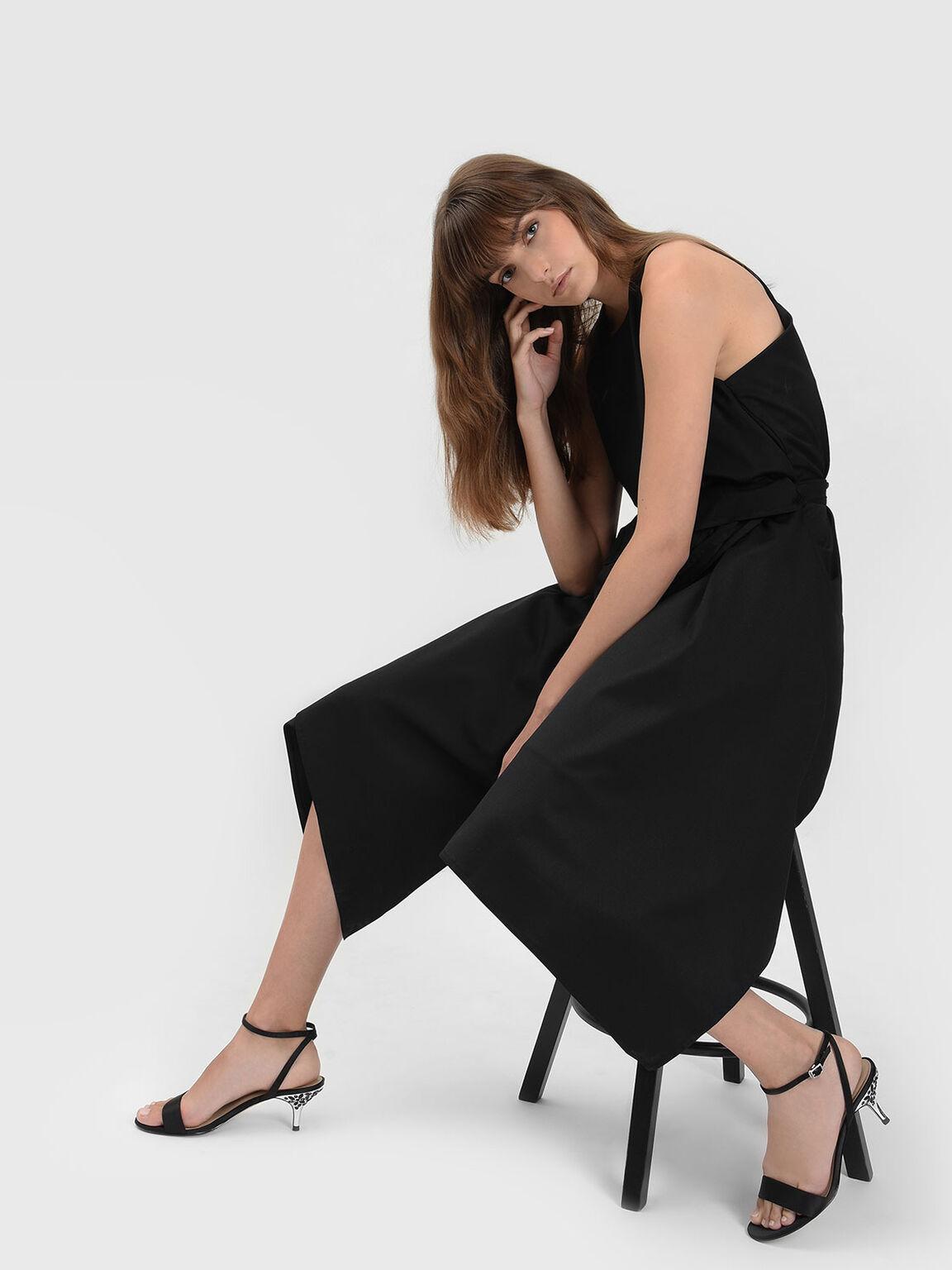 Rhinestone Heel Sandals, 블랙, hi-res