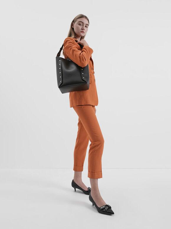 Large Reversible Studded Tote Bag, Black, hi-res