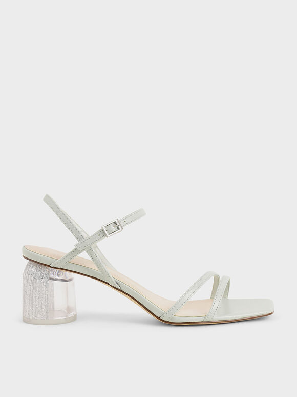 Strappy Sculptural Heel Sandals, Light Grey, hi-res