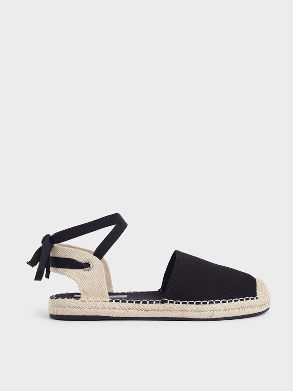 Tie-Around Espadrille Flats, Black, hi-res