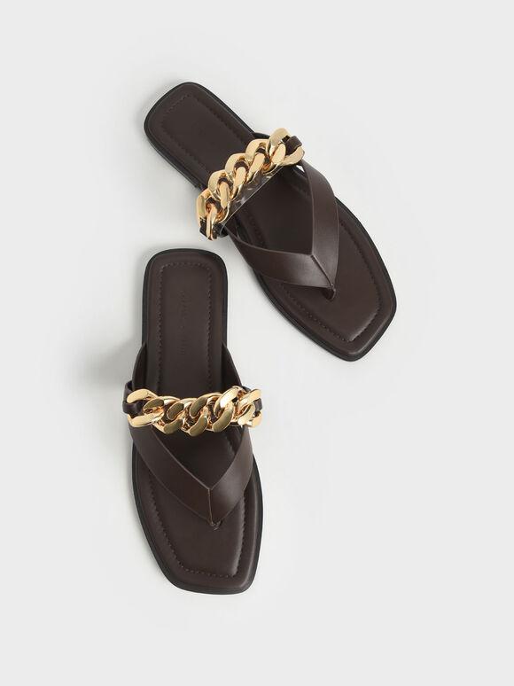 Chain Strap Thong Sandals, Dark Brown, hi-res