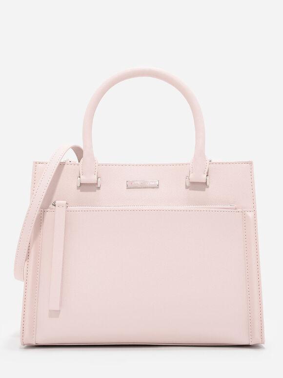 Front Zip Structured Bag, Pink, hi-res