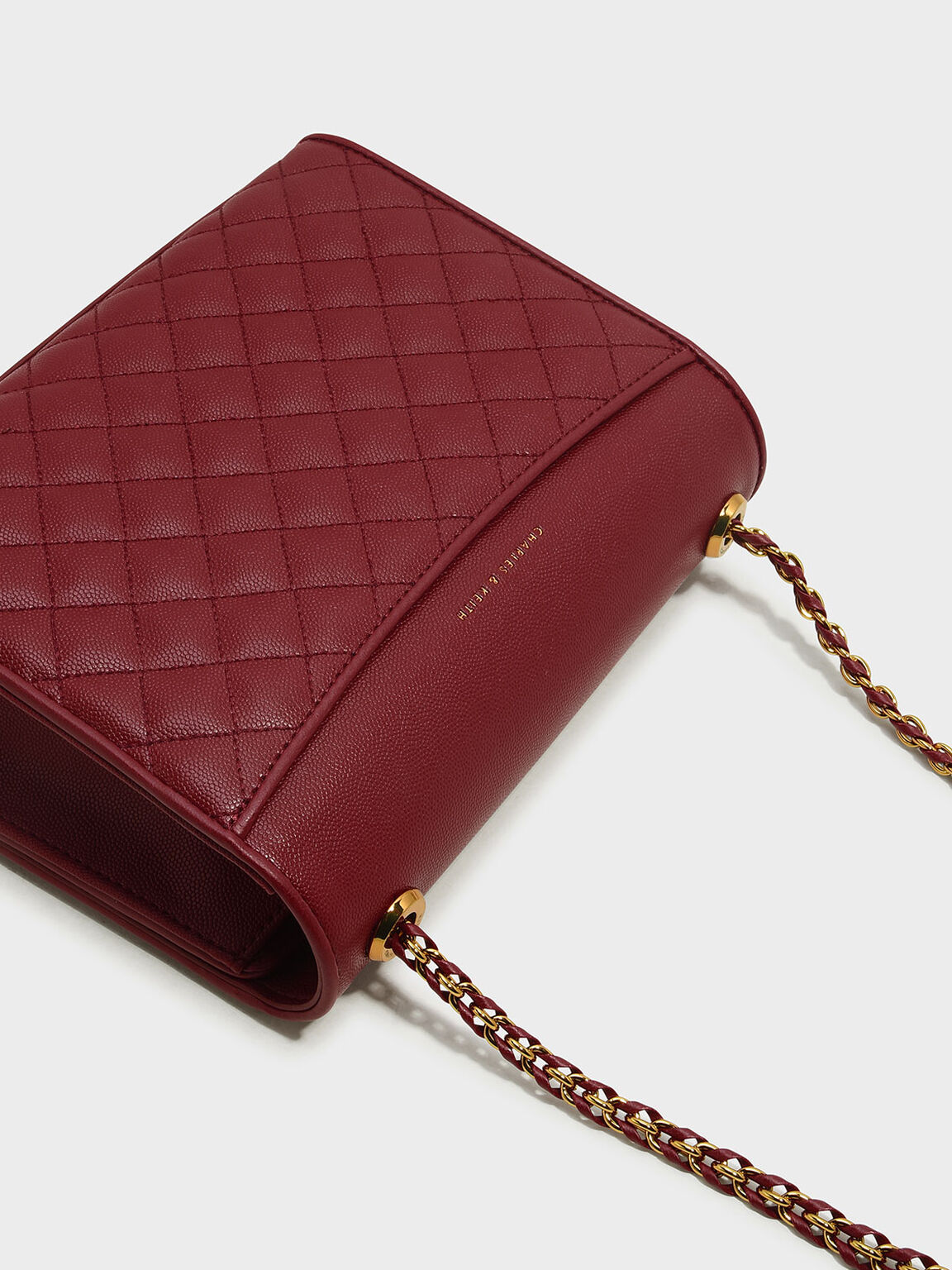 Quilted Sling Bag, Red, hi-res