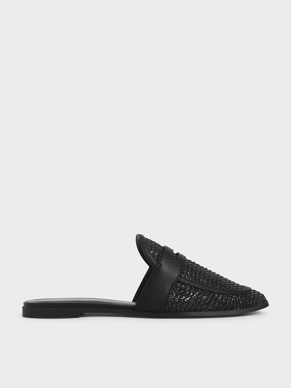 Woven Penny Loafer Mules, Black, hi-res