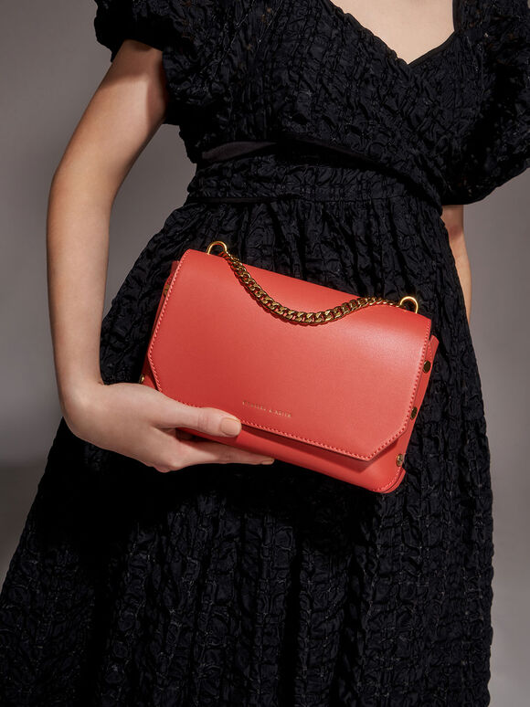 Chain Handle Shoulder Bag, Coral, hi-res
