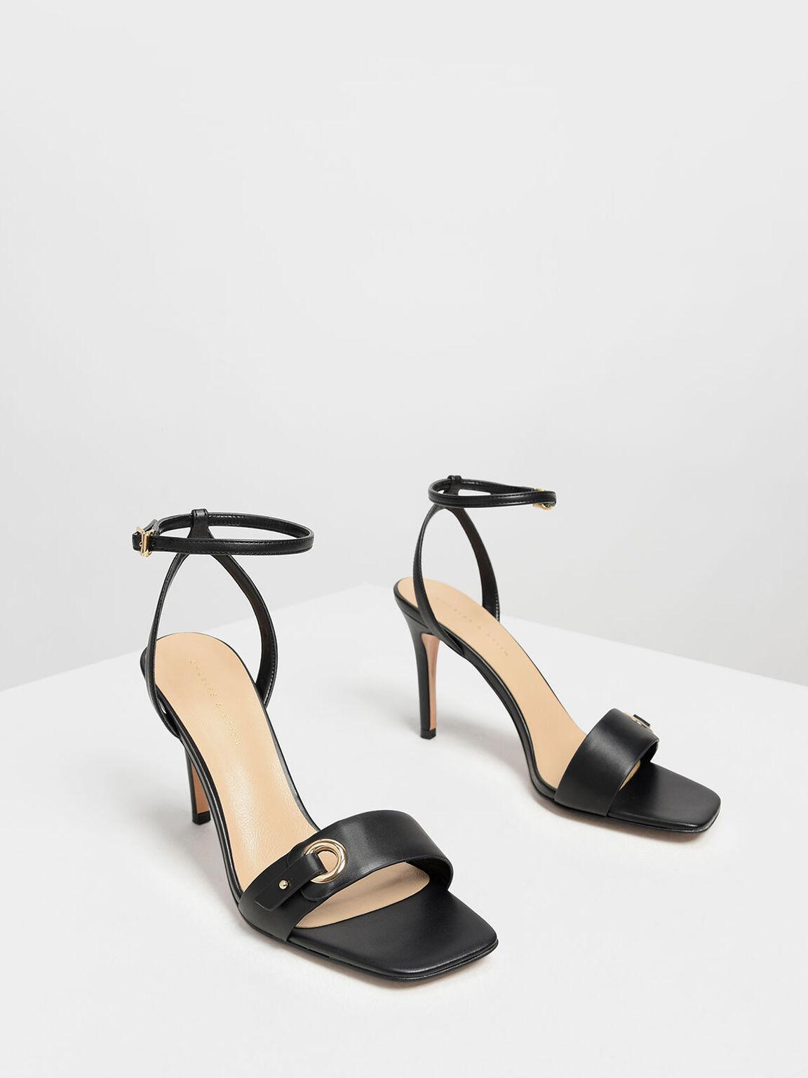 Gold Eyelet Detail Stiletto Heels, Black, hi-res