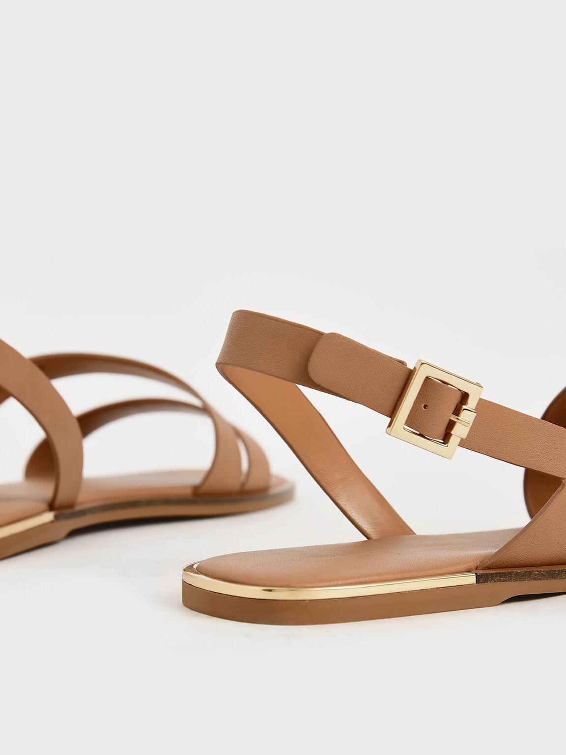 幾何雙帶涼鞋, 焦糖色, hi-res