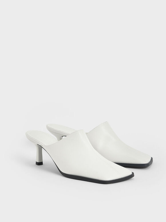 Covered Mules, White, hi-res