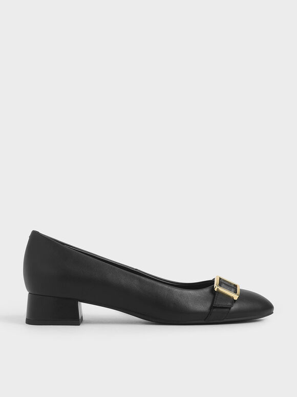 Frame Buckle Strap Pumps, Black, hi-res