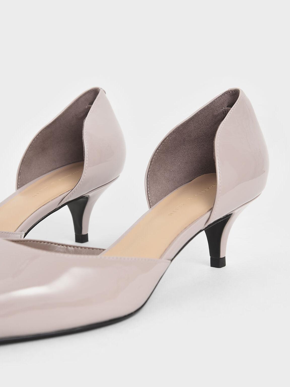 Patent D'Orsay Kitten Heel Pumps, Nude, hi-res