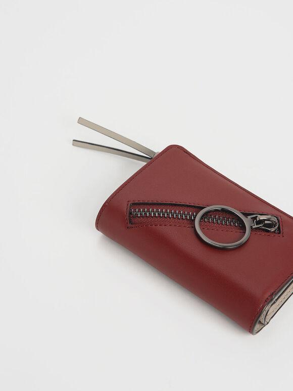 Ring Detail Zip Around Small Wallet, Burgundy, hi-res