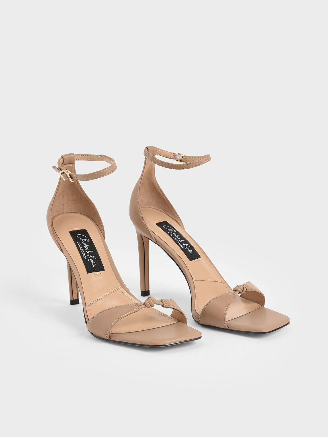 Leather Knot Detail Heeled Sandals, Nude, hi-res