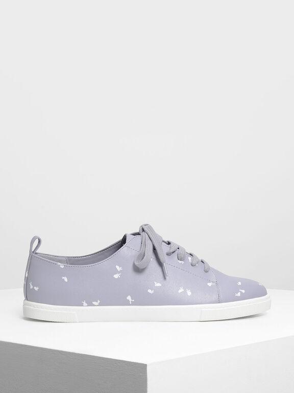 Bunny Print Sneakers, Light Grey