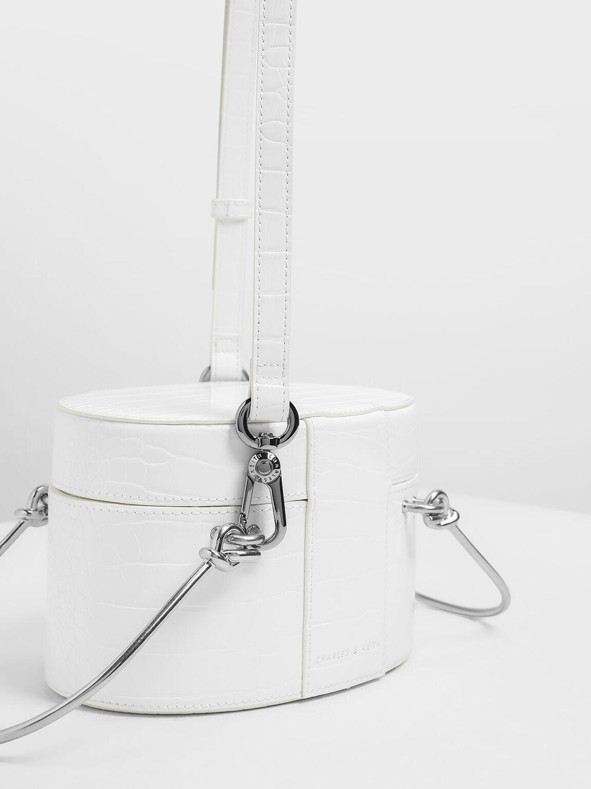 Metal Top Handle Croc-Effect Round Bag, White, hi-res