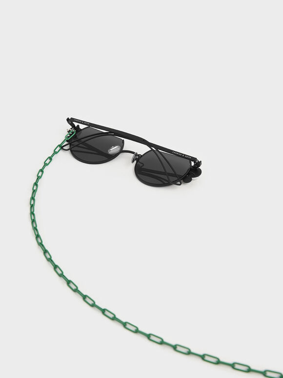 White Marble Stone Chain Link Round Cut-Off Sunglasses, Black, hi-res