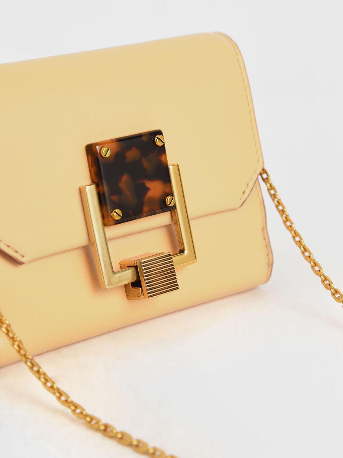 Metallic Accent Mini Wallet, Yellow, hi-res