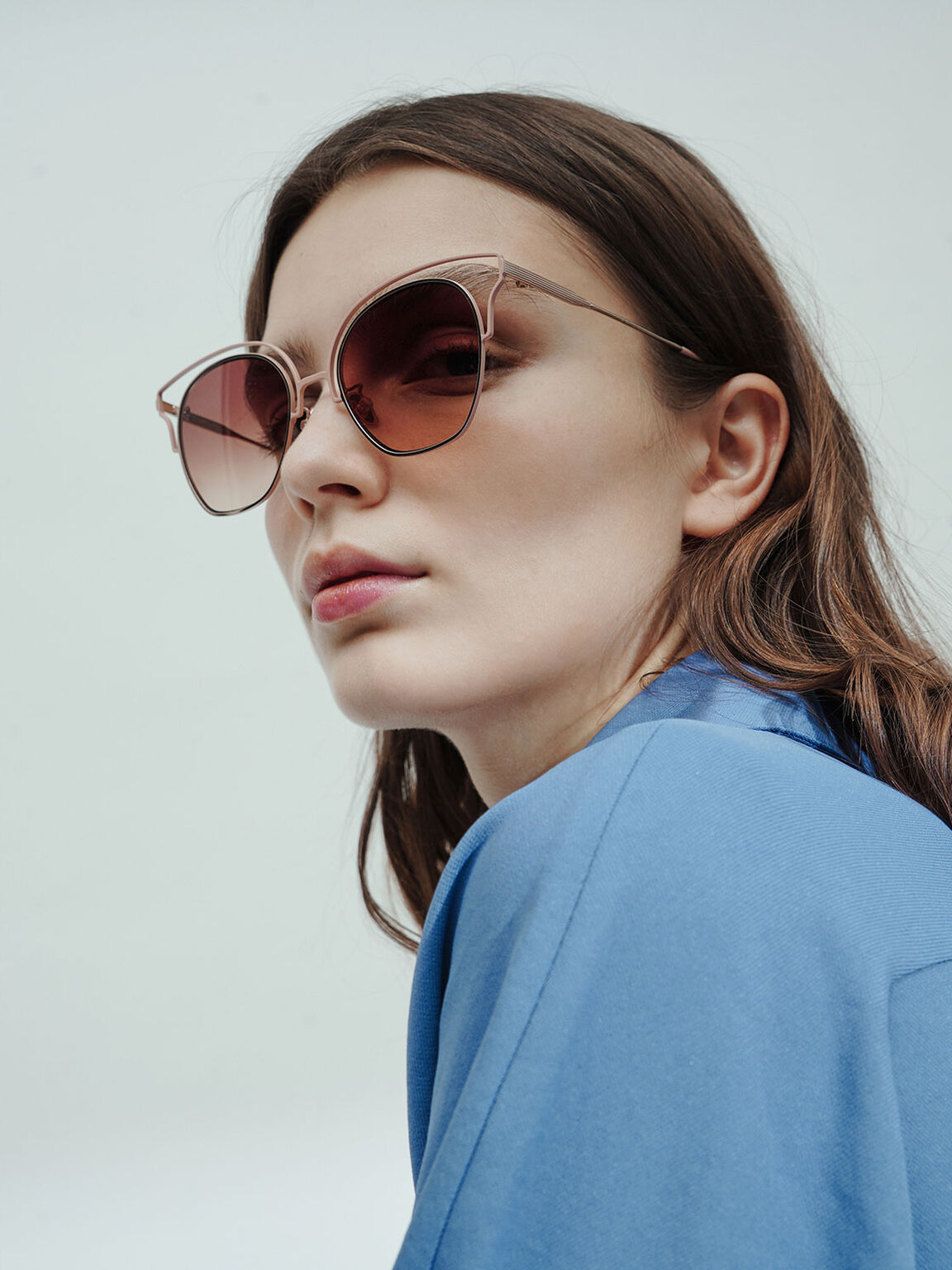 Cut-Out Tinted Sunglasses, Pink, hi-res
