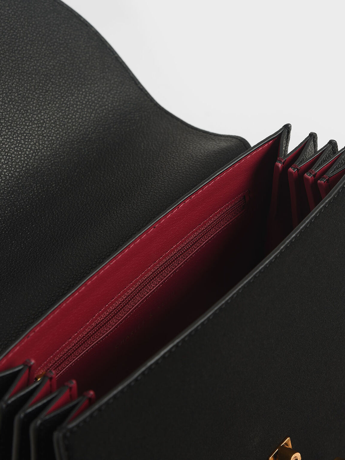 텍스처드 메탈 탑 핸들 백, 블랙, hi-res