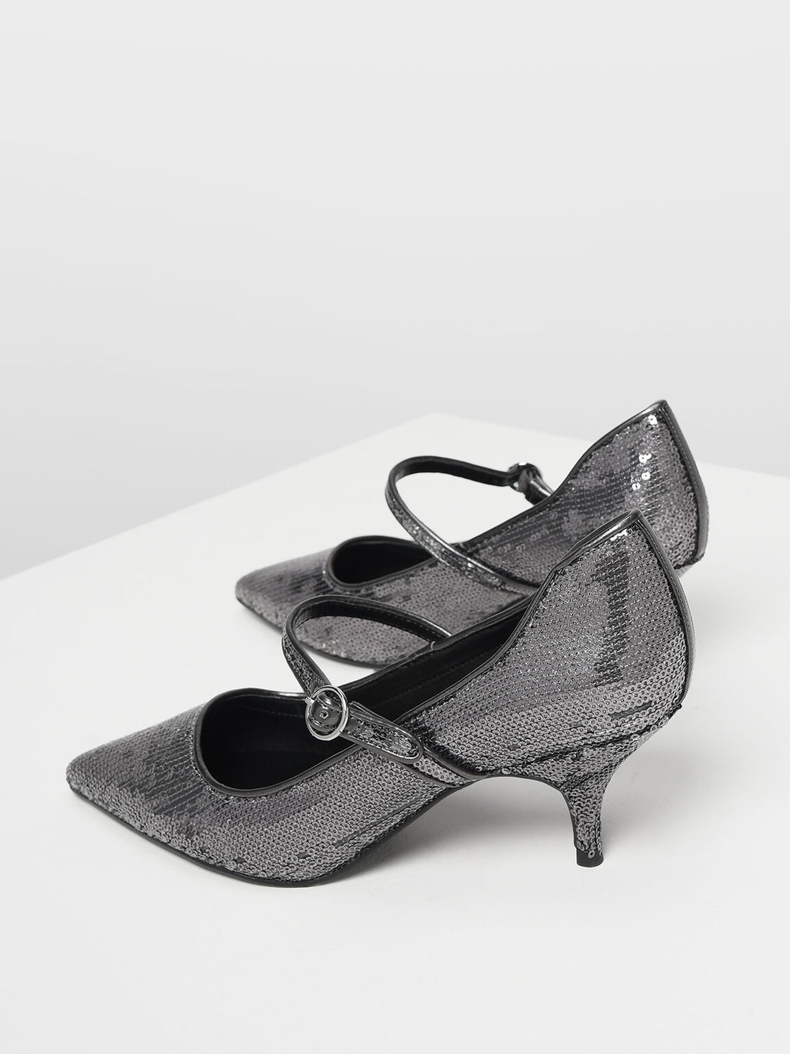 Sequin Mary Jane Pumps, Pewter, hi-res