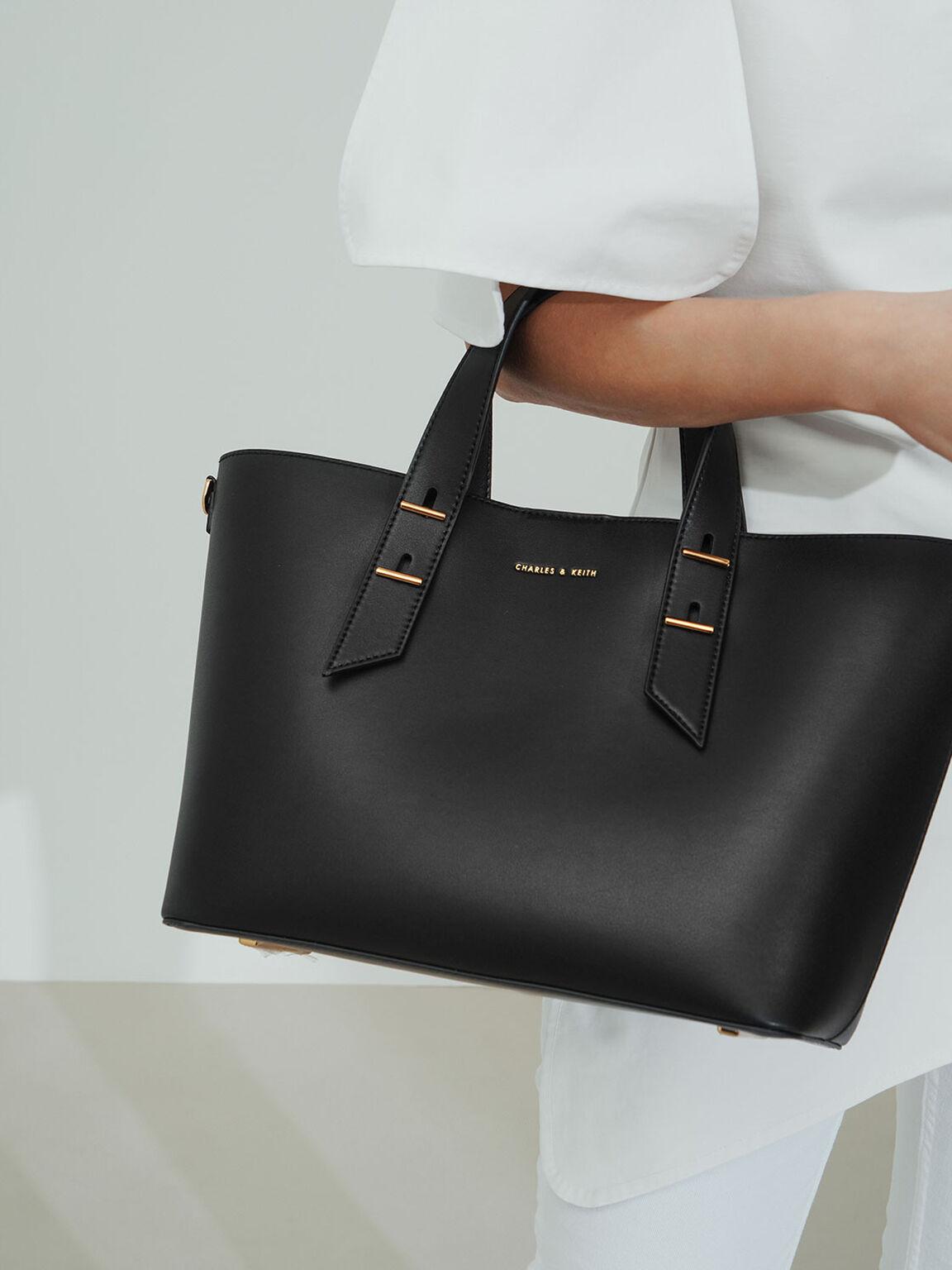 Double Handle Slouchy Bag, Black, hi-res