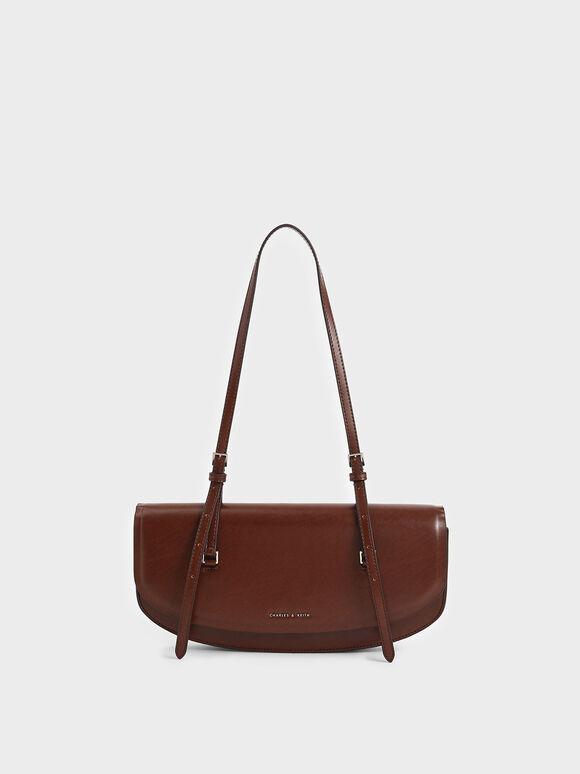 Elongated Saddle Bag, Brown, hi-res