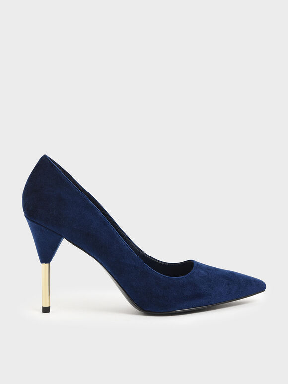Velvet Metallic Stiletto Heel Pumps, Dark Blue, hi-res