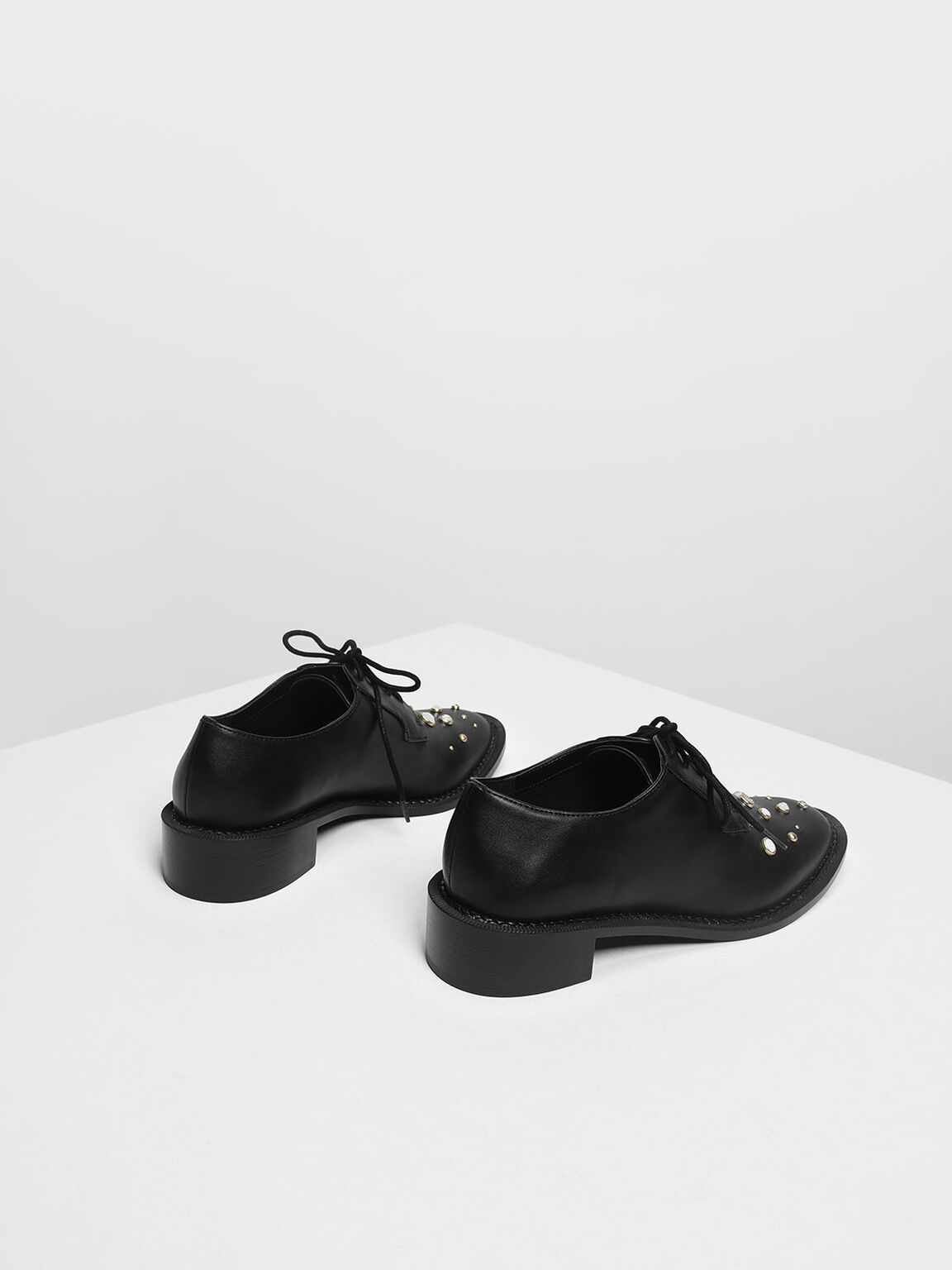 Embellished Derby Shoes, Black, hi-res