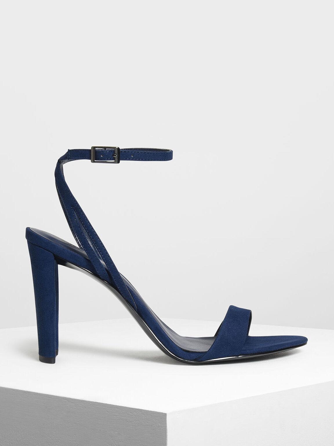 Ankle Strap Heeled Sandals, Dark Blue, hi-res