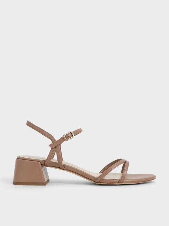 雙細帶粗跟涼鞋, 黃褐色, hi-res
