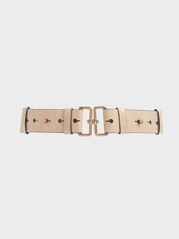 Croc-Effect Double Buckle Waist Belt, Beige, hi-res