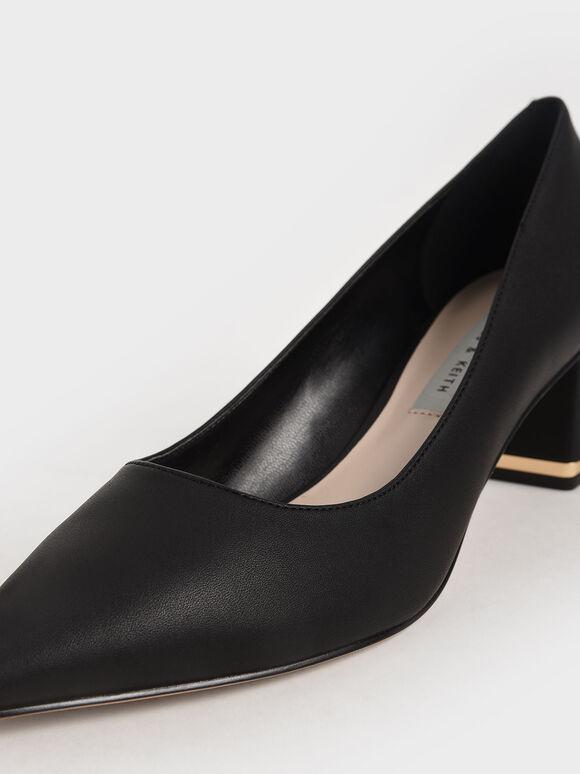 Trapeze Heel Court Shoes, Black, hi-res
