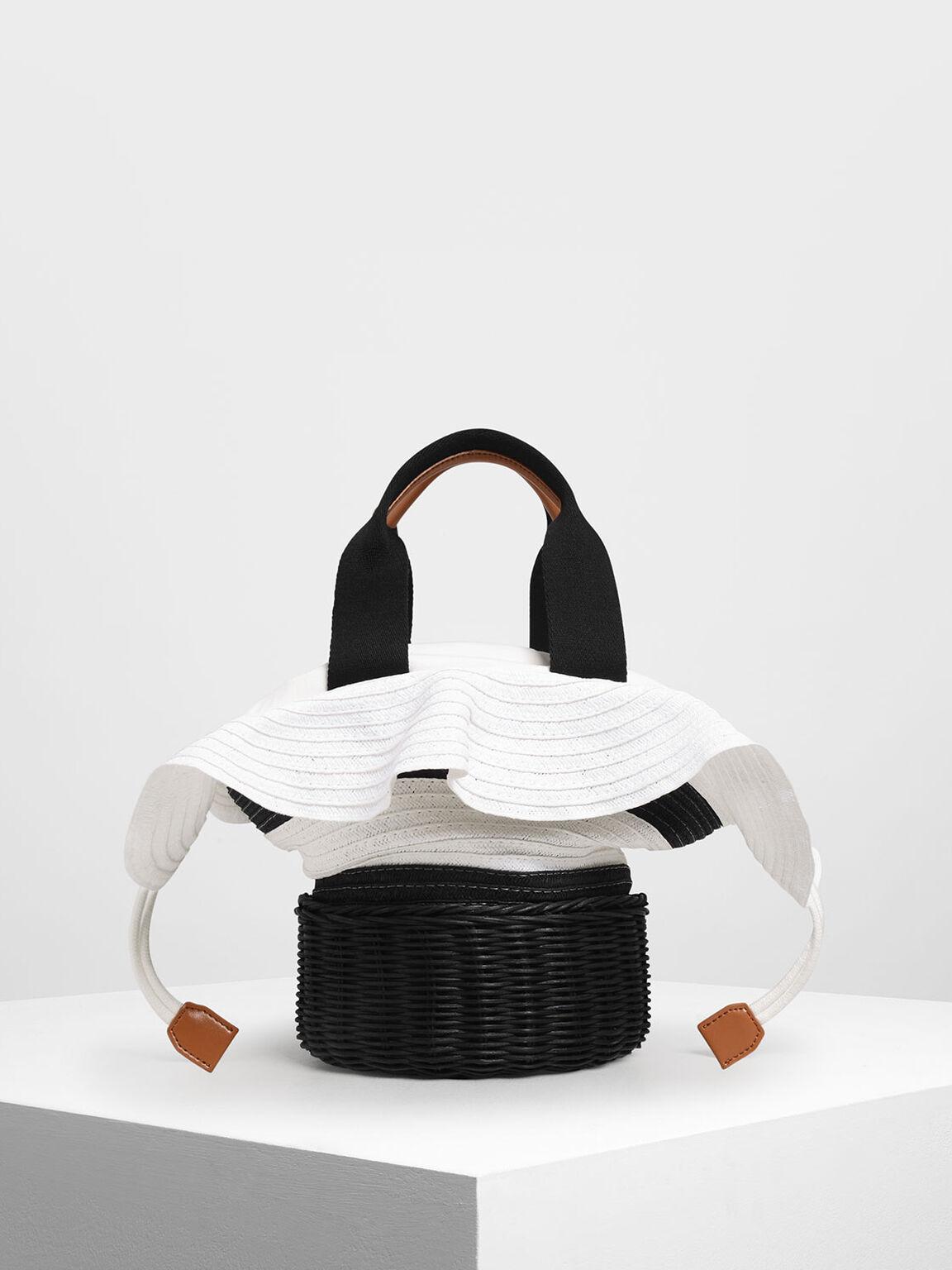 Straw & Rattan Tote Bag, Multi, hi-res