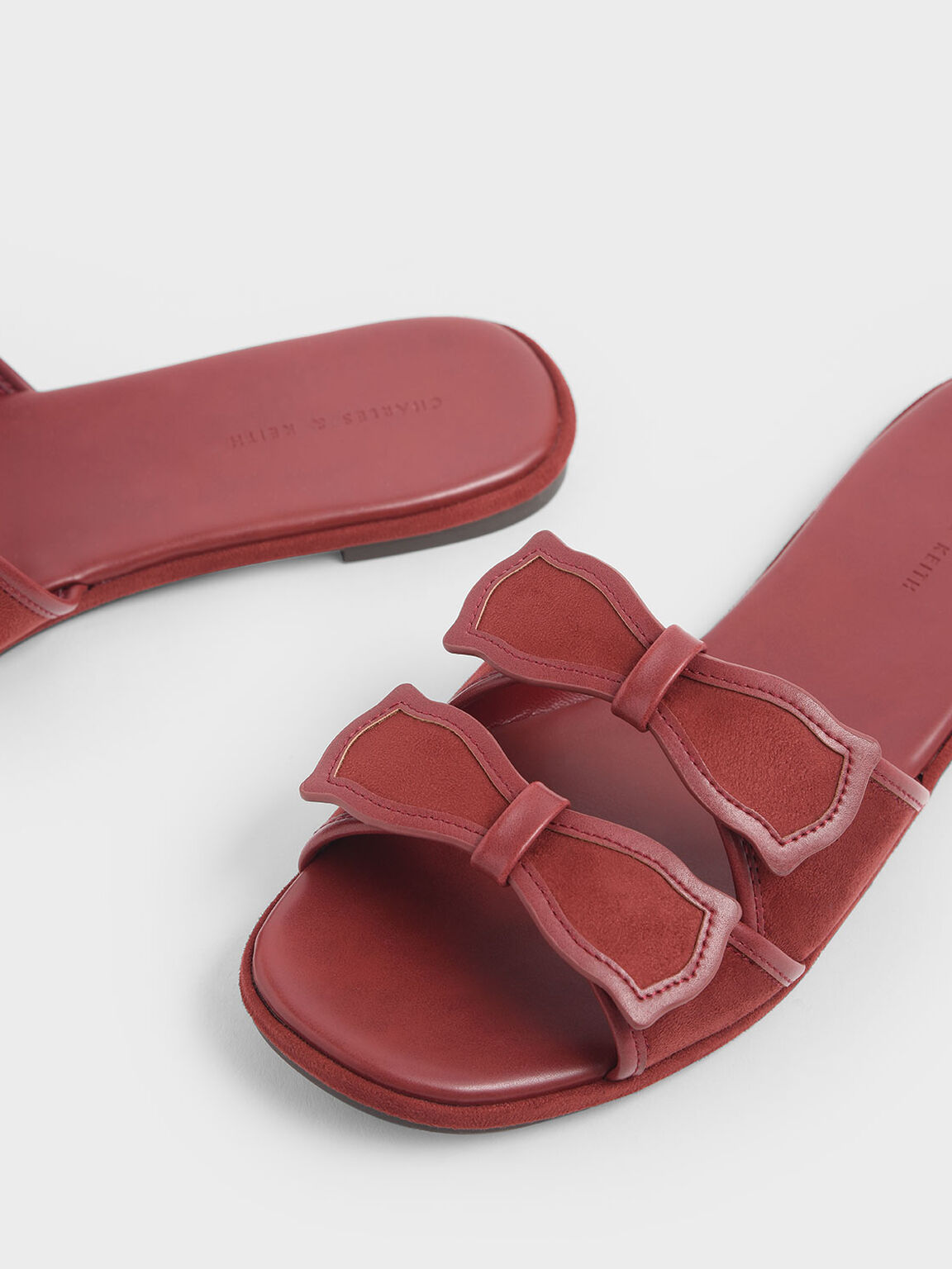 Textured Double Bow Slide Sandals, Brick, hi-res