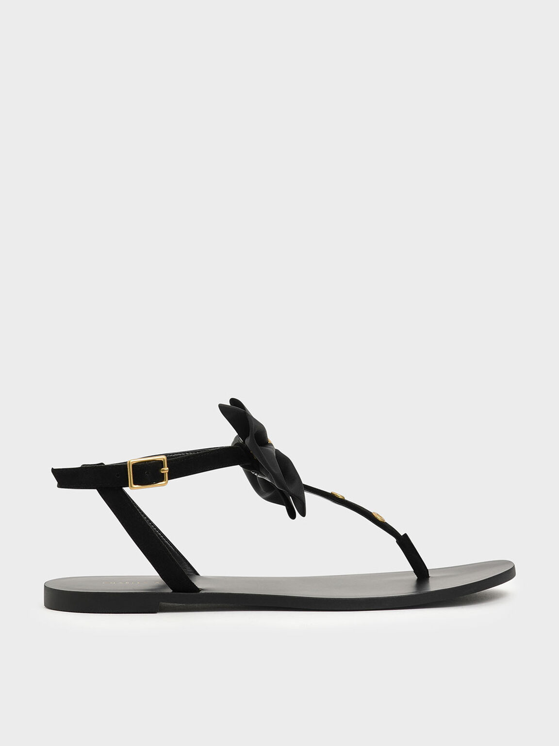 Textured Oversized Bow Studded Thong Sandals, Black, hi-res